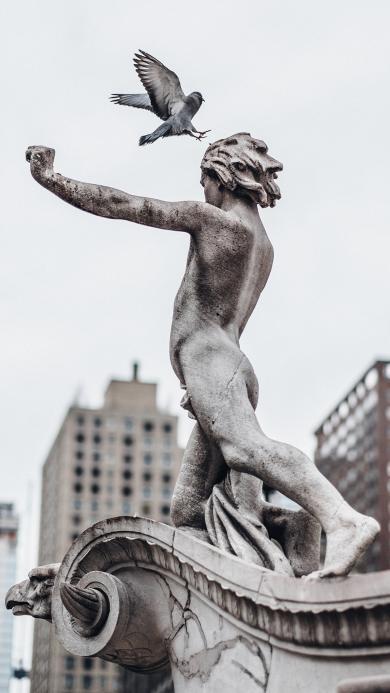 城市 建筑 雕像 鸽子