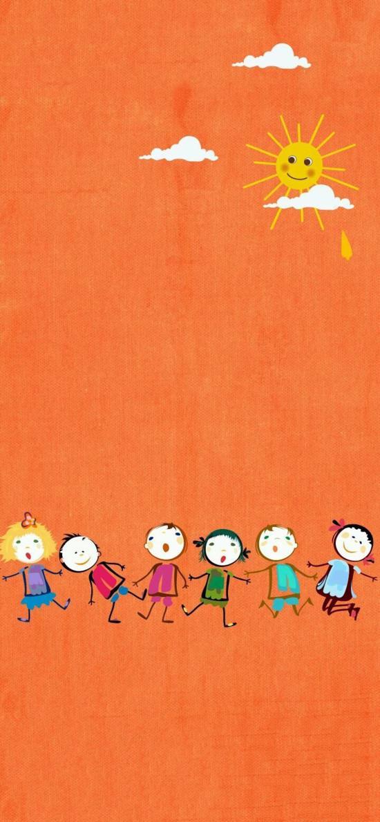 橙色背景 简笔插画 小人 牵手 太阳
