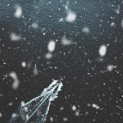 冬季 下雪 大海 船只 行驶