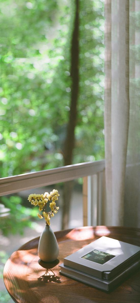 窗边 桌子 插花 书本