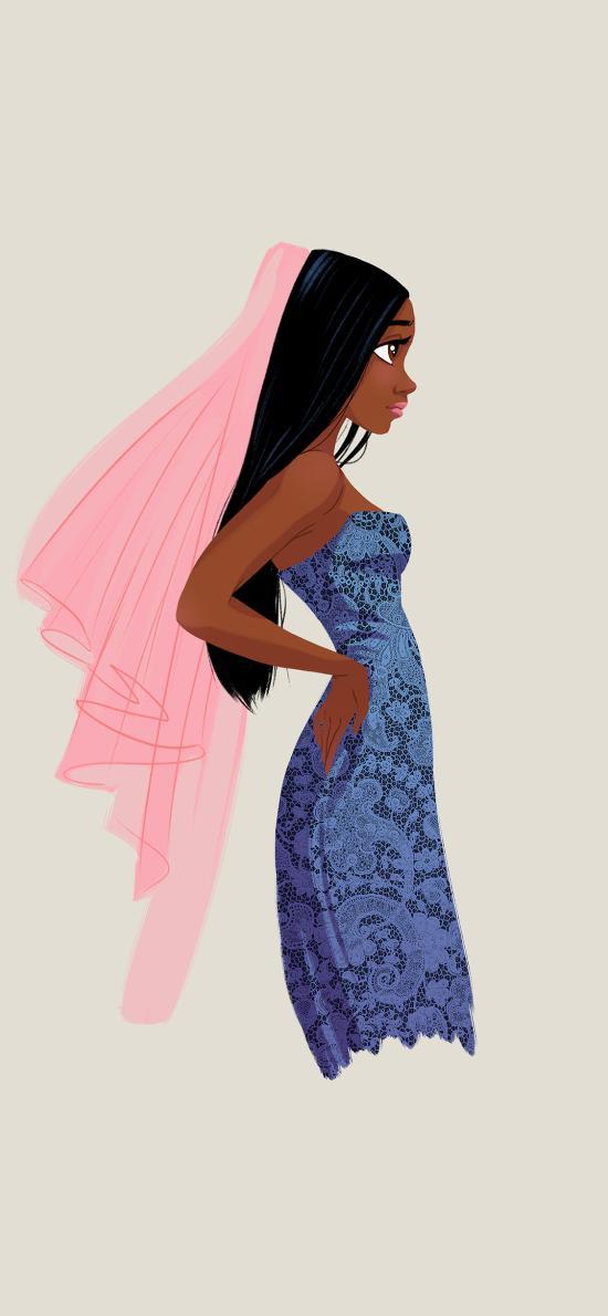 黑人新娘 手绘 叉腰