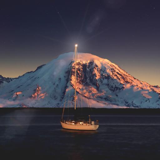 夜晚 轮船 海面 雪山