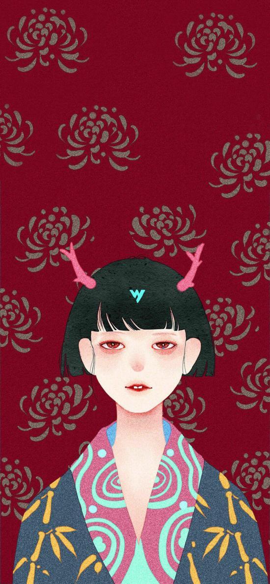 日式 插画 女孩 鹿角