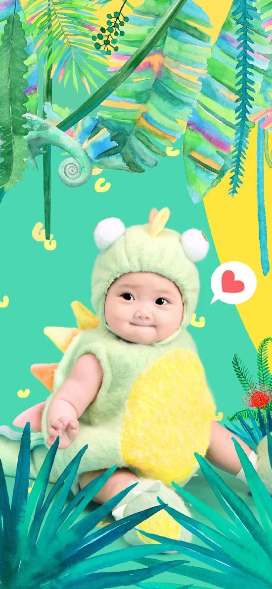 宝宝 艺术照 可爱 婴儿 色彩 丛林