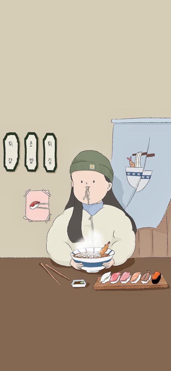 Kitty 插画 女孩 吃货 寿司