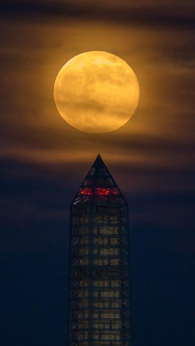 月球 建筑 夜晚 月光