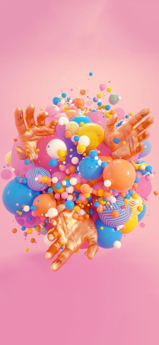 手 空间 球 立体 色彩 粉