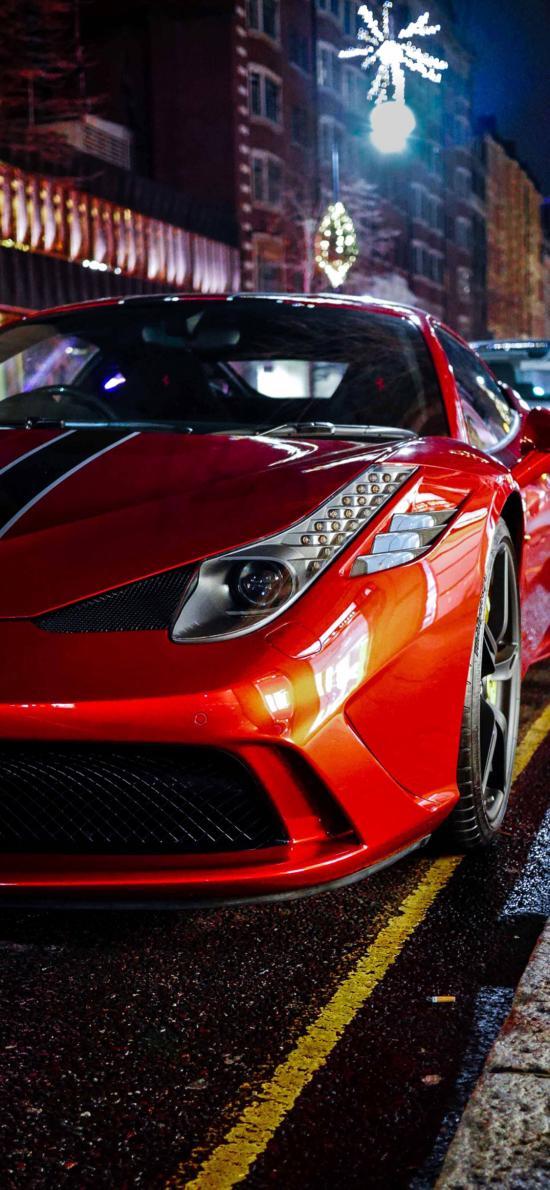 法拉利 超级跑车 炫酷 红色 道路
