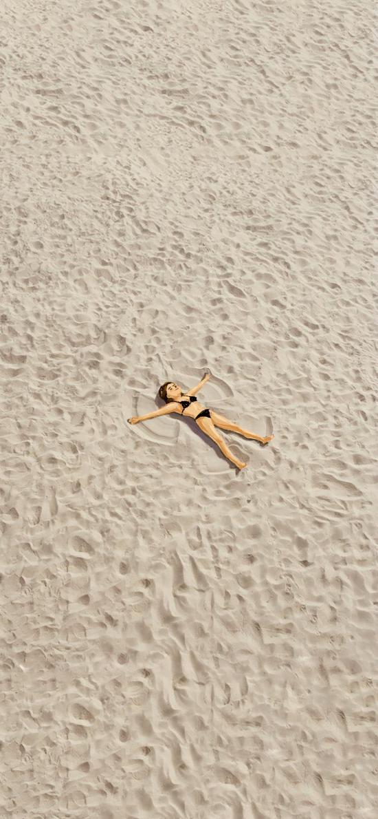 插画 沙滩 女孩 比基尼