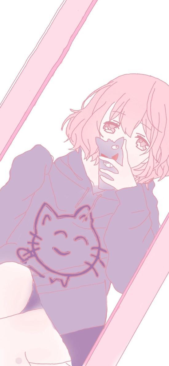 动漫少女 粉色系 短发 萝莉