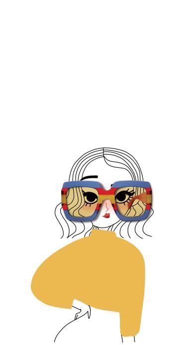 墨镜 女孩 插画 组合 时尚