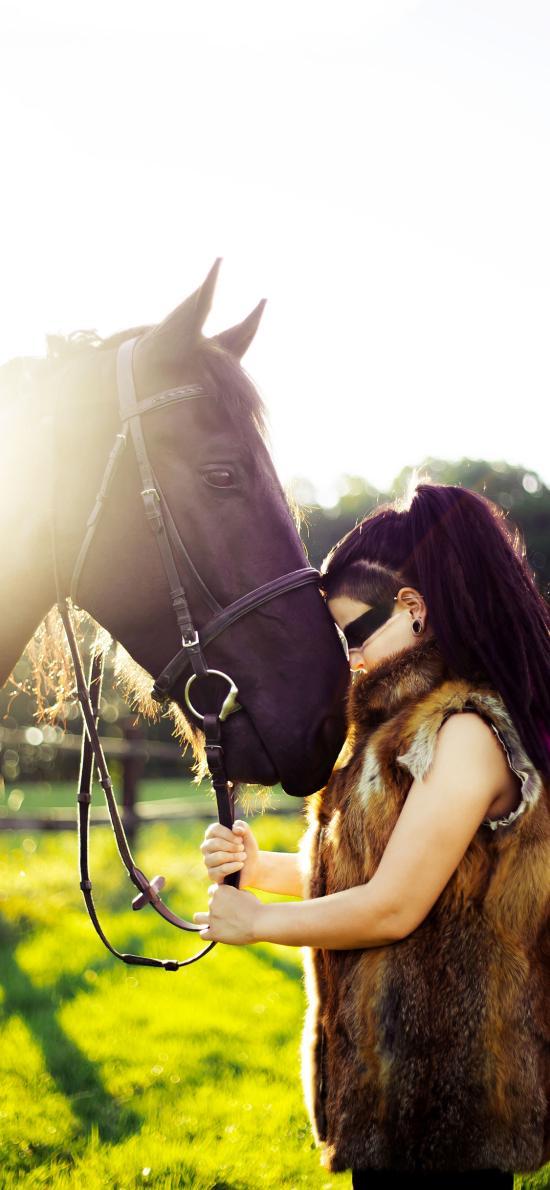 马匹 户外 草地 女孩