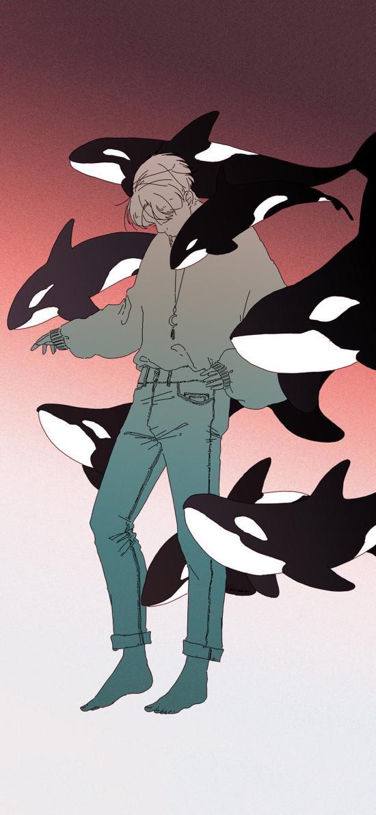 男孩 鲸鱼 虎鲸 插画