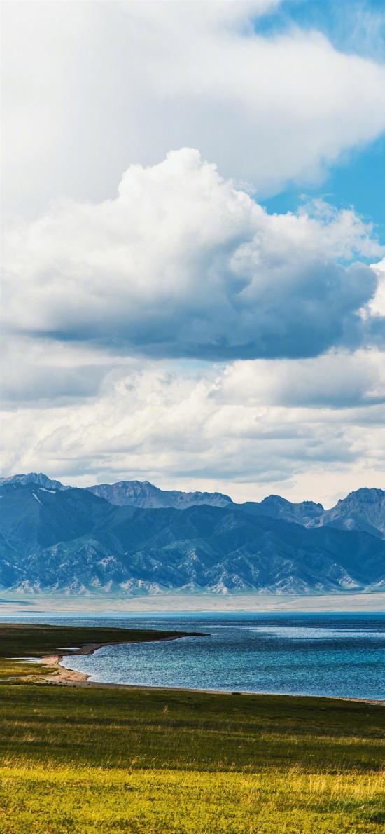 山水 湖水 草坪 大自然