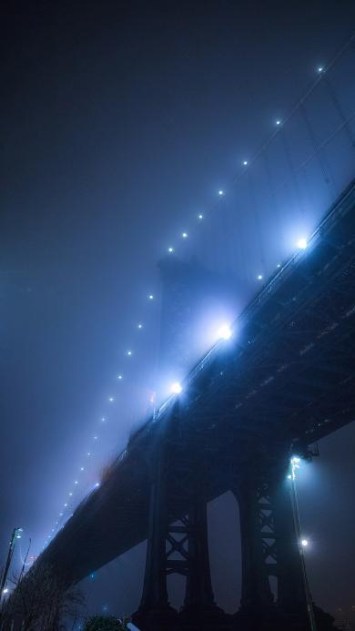 桥梁 夜晚 灯光 璀璨