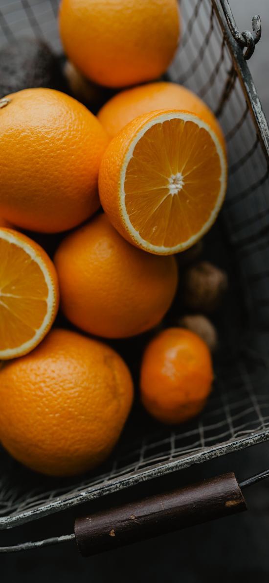 橙子 水果 维C 果篮 篮子
