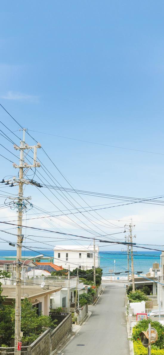 日本 城市 街道 小清新 天空 电线杆