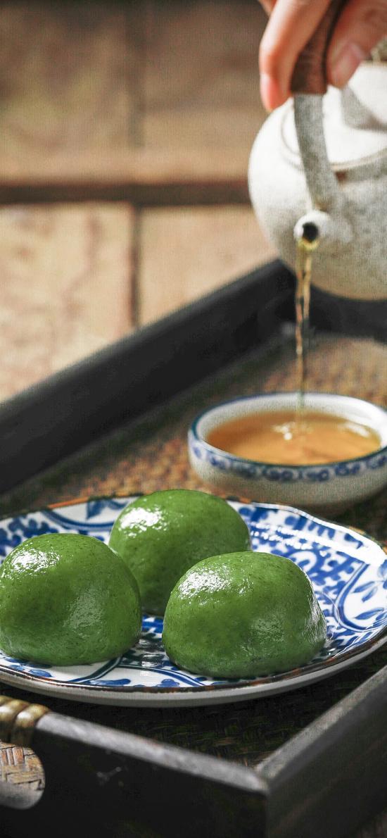青团 艾草 清明 传统 食物 糯米 茶