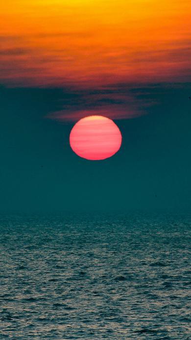 大海 夕阳 红霞 美景