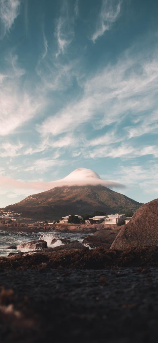 天空 云朵 高山 海岸