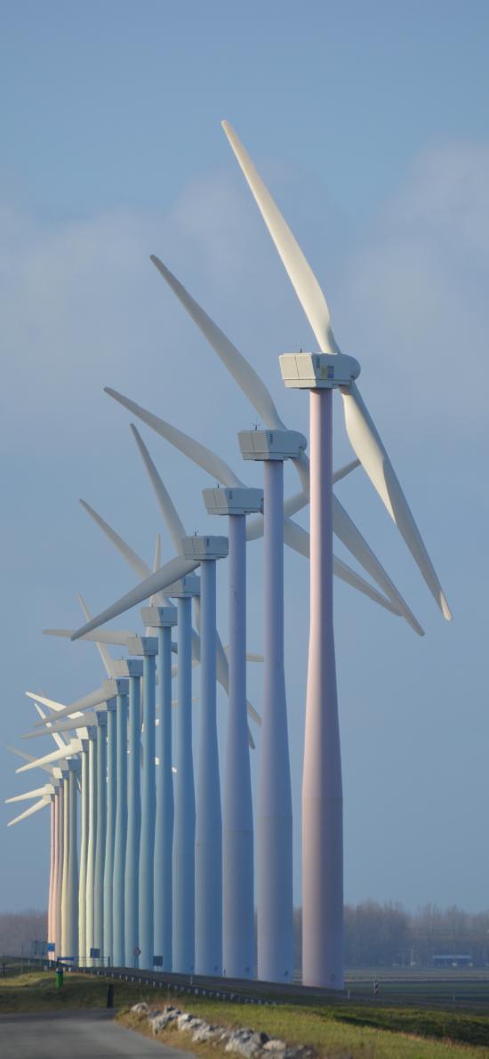 风车 风力发电机 户外 广阔