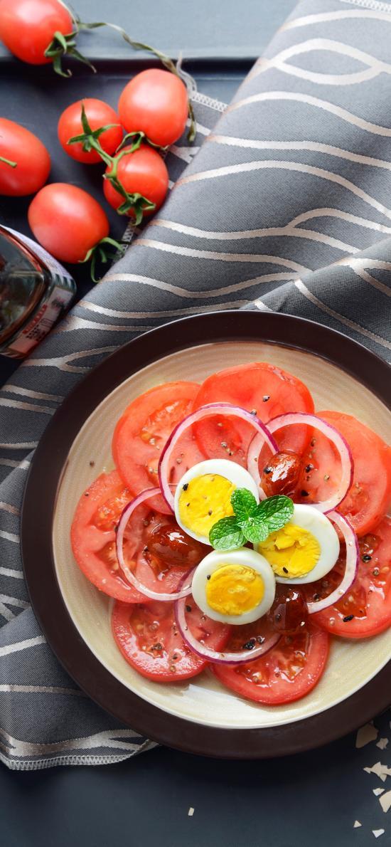番茄 鸡蛋 水煮蛋 沙拉 素食 健康