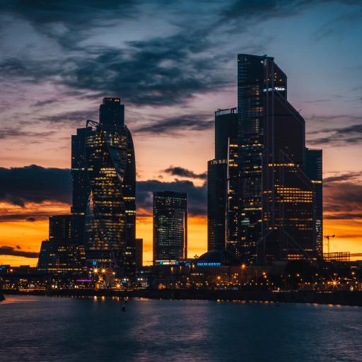 城市 夜景 夕阳 海平面