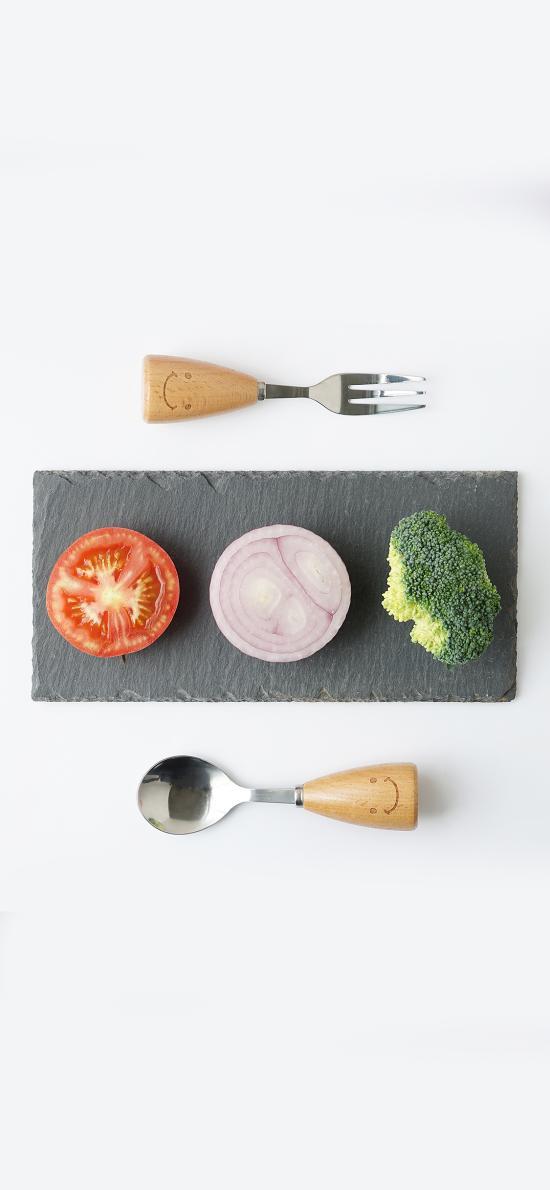 番茄 洋葱 花椰菜 餐具 创意 简约