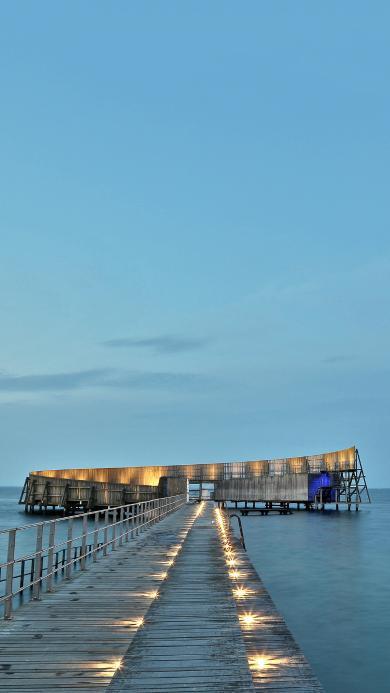 夜晚 海边 木桥 唯美海景