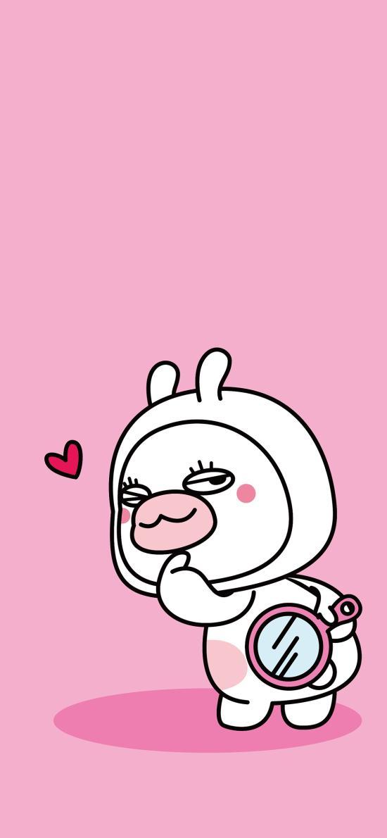 夏萌猫 可爱 粉色 爱心 回头 兔子