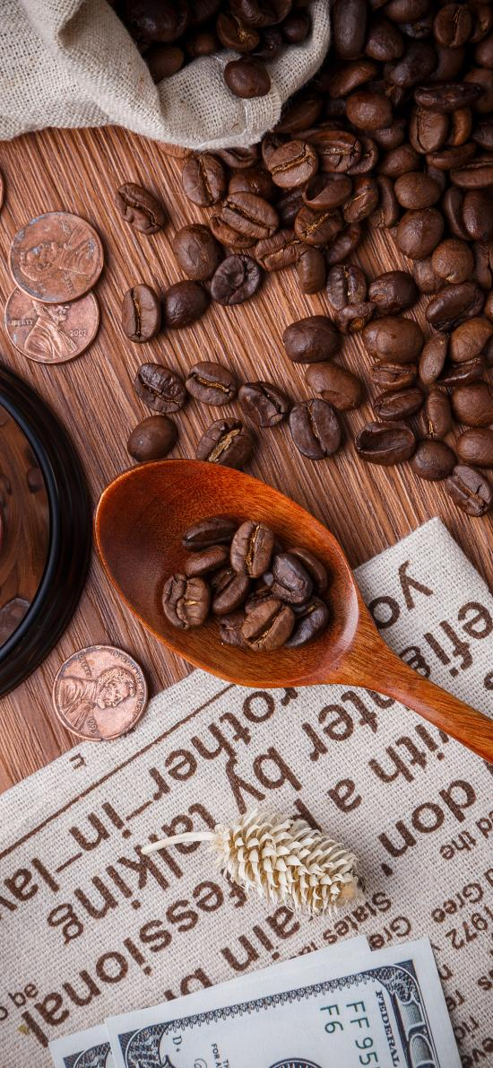 咖啡豆 零钱 木勺 钱币