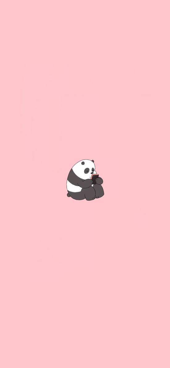 咱们裸熊 粉色 熊猫 卡通 可爱 手机