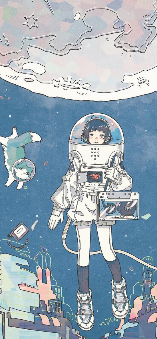 Jungoro插画 太空 女孩 猫咪