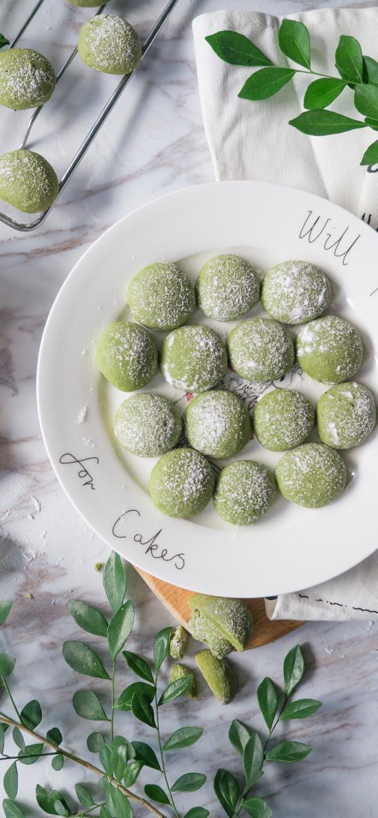 曲奇 饼干 抹茶 绿色 点心 枝叶