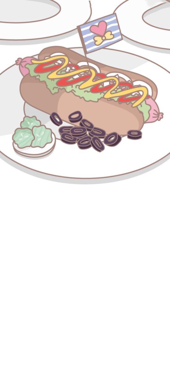 卡通 热狗 面包 配菜