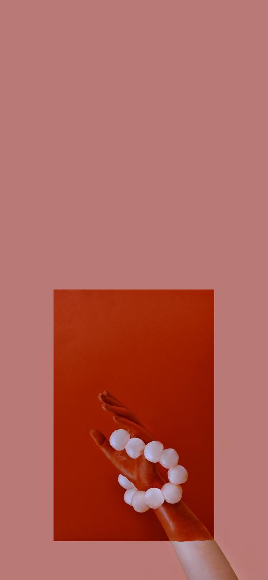 创意拍摄 手 荔枝 红色