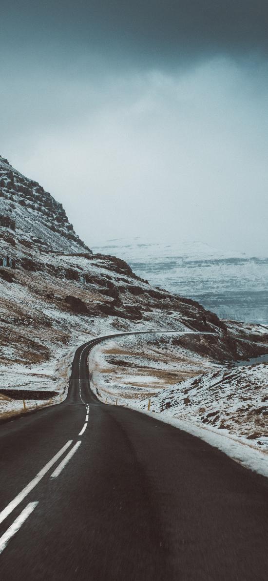 郊外山峰 道路 蜿蜒