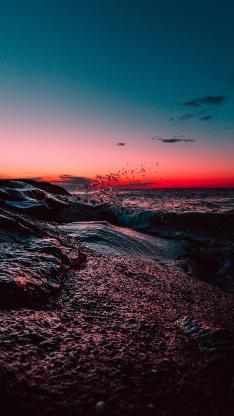 大海 渐变 天空 海水