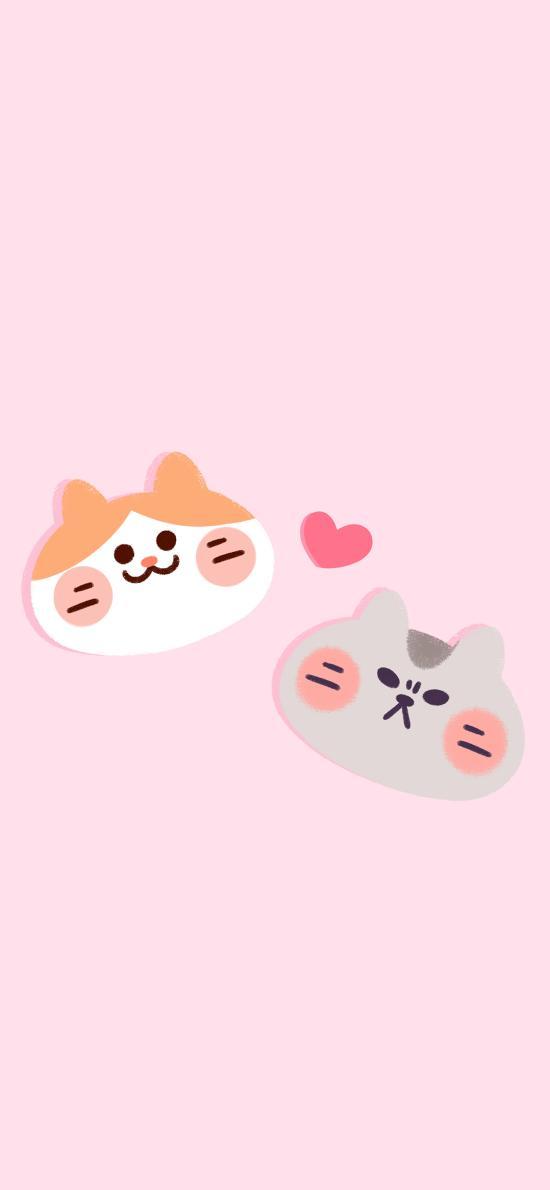 国民富贵天团 可爱 插画 卡通 粉色 爱心 猫咪