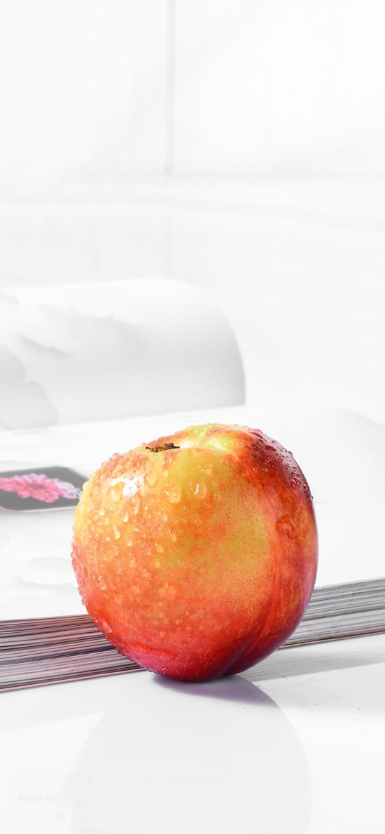 新鲜水果 苹果 水珠 特写