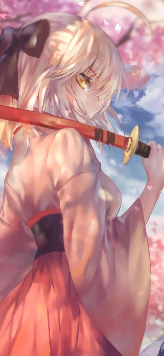 女侠 少女 漫画 剑 樱花 和服