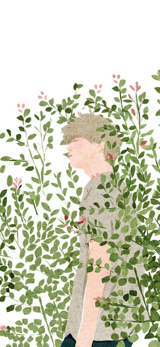 男孩 插画 树丛 枝叶