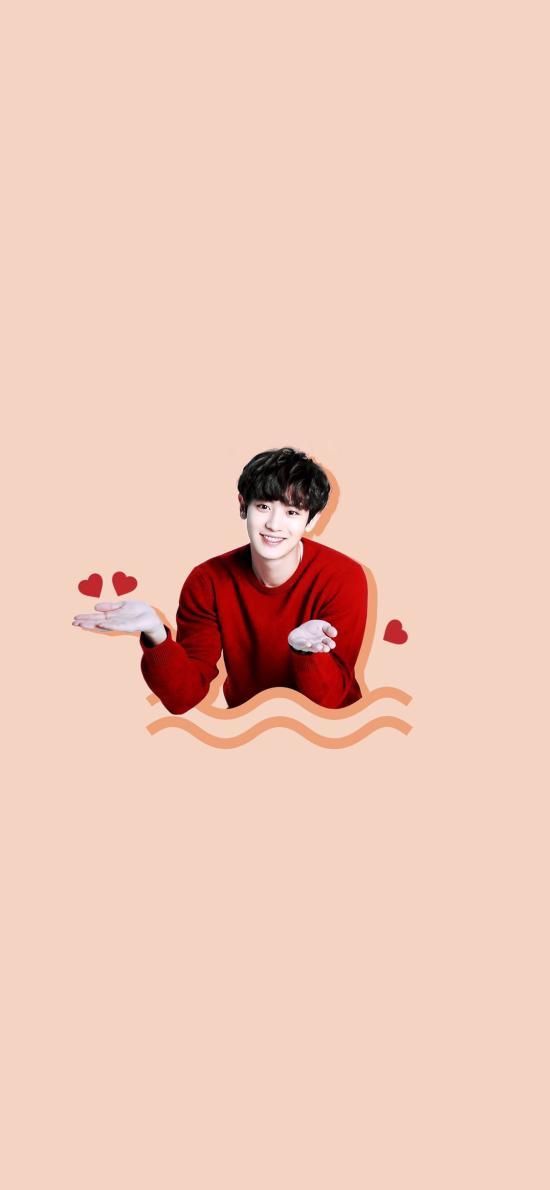 朴灿烈 韩国 歌手 明星爱心 红毛衣