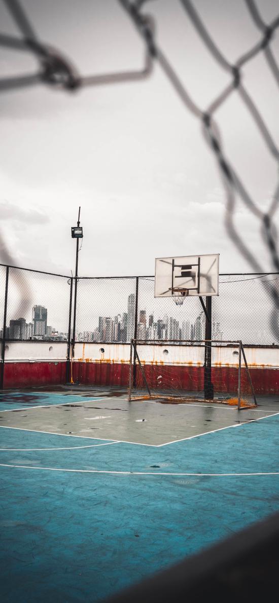 球场 篮球 铁丝网 运动 球架