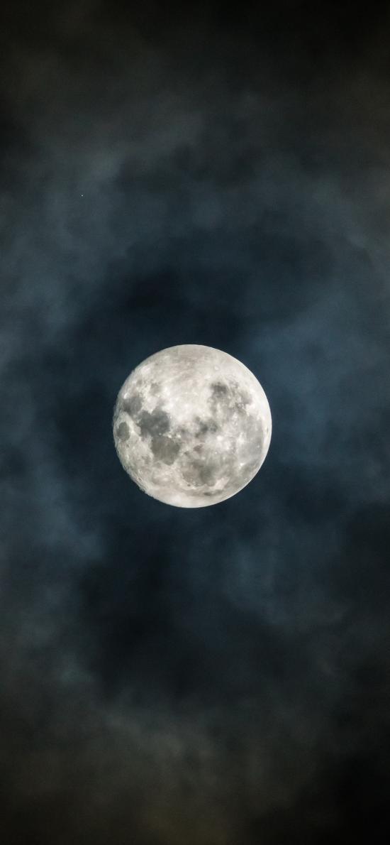 月亮 夜 云雾 月球 满月