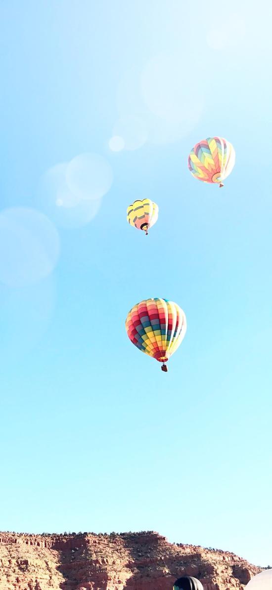 热气球 天空 唯美 阳光