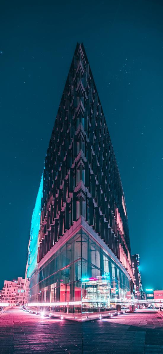 建筑 路口 三角 夜晚 夜景