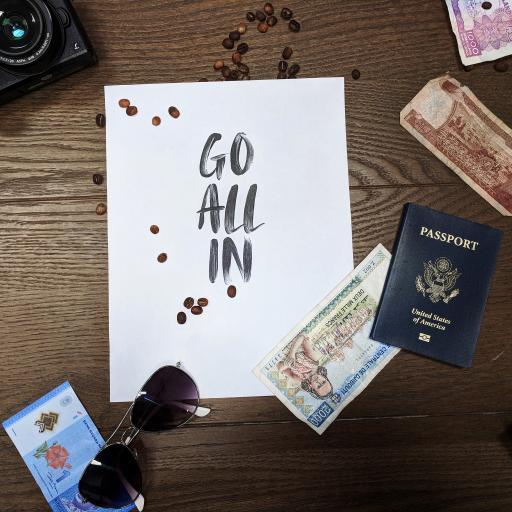 英文 GO ALL IN 咖啡豆