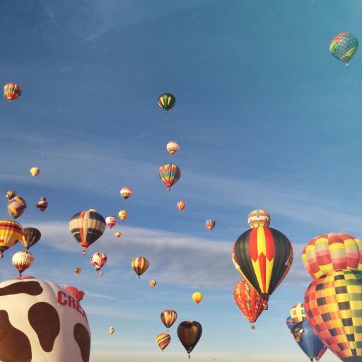 热气球 天空 高空 色彩