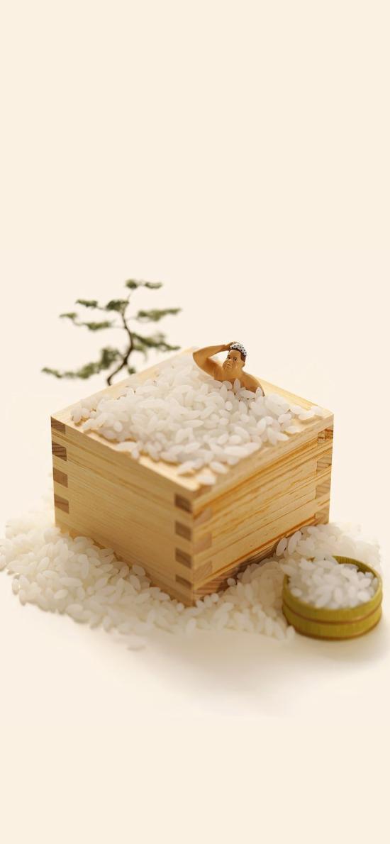 泡澡 玩具人 木盒 大米
